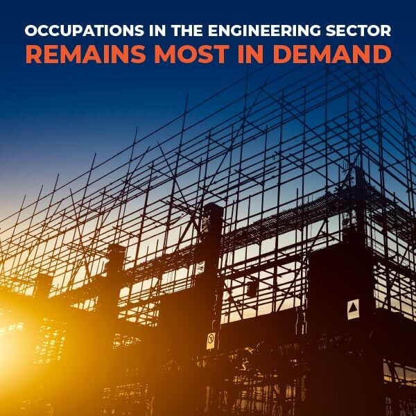 Occupations in the engineering sector remains most in demand